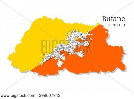 Map Of Butane With National Flag. Highly Detailed Editable Map Of Butane, South Asia Country Territo