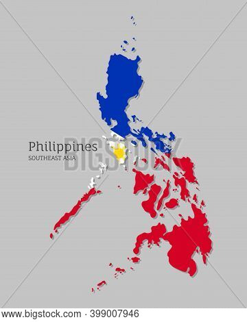 Map Of Philippines With National Flag. Highly Detailed Editable Map Of Philippines, Southeast Asia C