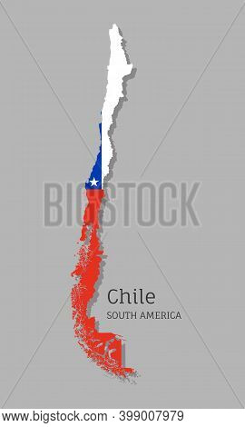 Map Of Chile With National Flag. Highly Detailed Editable Chilean Map, South America Country Territo