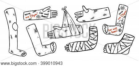 Set Of Broken Legs, Arms And Hands Cast Doodles With Positive Writings From Friends. Collection Of I