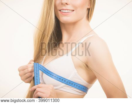 Woman Measuring Her Chest Breasts Bust Size