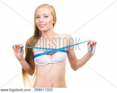 Girl Measuring Her Chest Breasts Bust Size