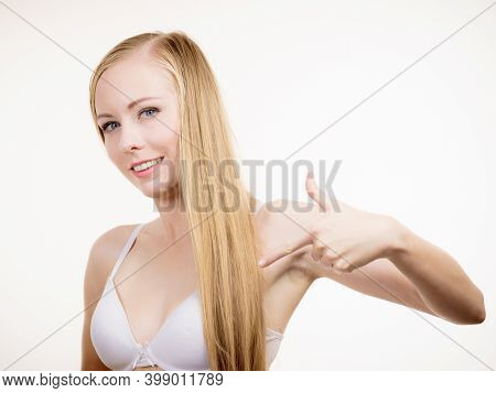 Young Long Hair Blonde Woman Small Boobs Wearing Bra, On White. Female Breast In Lingerie. Bosom, Br