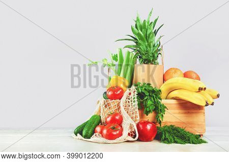 Delivery Of Grocery. Chest With Fresh Fruit And Vegetables Bright Green Produce. Eco Friendly Respon