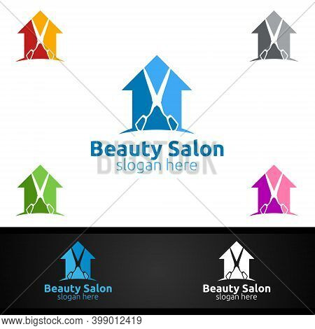 Home Salon Fashion Logo For Beauty Hairstylist, Cosmetics, Or Boutique Design