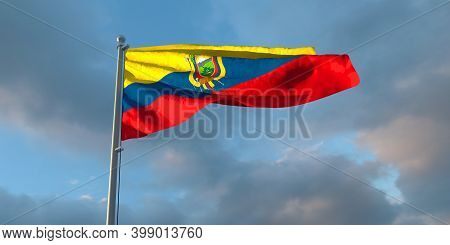 3d Rendering Of The National Flag Of The Ecuador