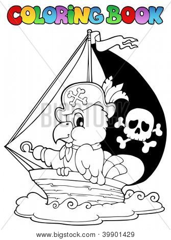 Coloring book pirate parrot theme 1 - vector illustration.