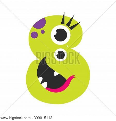Number Eight Cute Monster, Funny Fantasy Creature Character, 8 Numeral, Mathematics, Learning Materi
