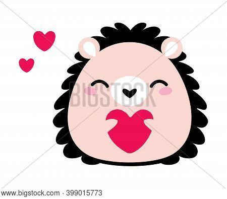 Prickly Hedgehog Holding Heart As Valentine Day Celebration Vector Illustration