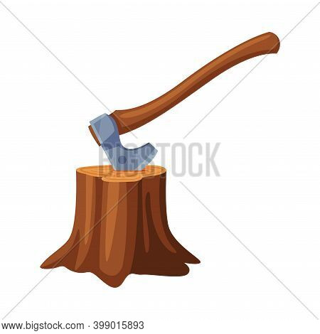 Axe With Wooden Handle Stuck In Tree Stump Vector Illustration