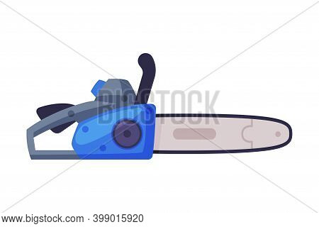 Powered Chain Saw With Tough Blade With Hard Toothed Edge Vector Illustration