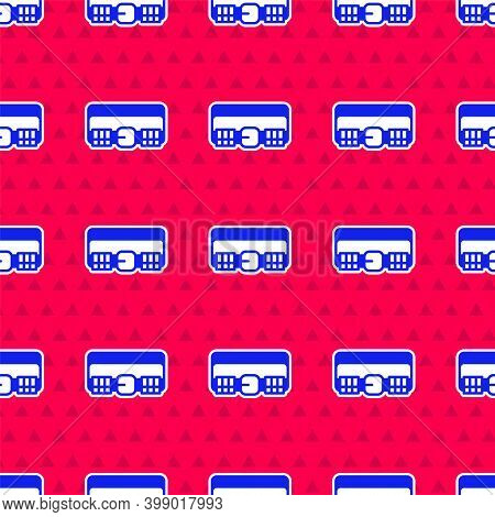 Blue Hunting Cartridge Belt With Cartridges Icon Isolated Seamless Pattern On Red Background. Bandol