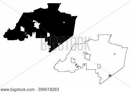 Thousand Oaks City, California (united States Cities, United States Of America, Usa City) Map Vector