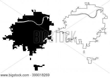 Topeka City, Kansas (united States Cities, United States Of America, Usa City) Map Vector Illustrati