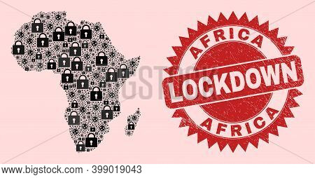 Vector Coronavirus Lockdown Mosaic Africa Map And Corroded Stamp Seal. Lockdown Red Stamp Uses Sharp