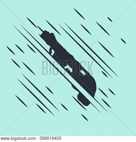 Black Police Shotgun Icon Isolated On Green Background. Hunting Shotgun. Glitch Style. Vector