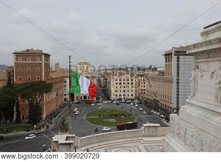 Rome, Rm, Italy - March 5, 2019:  Italian Flag And Wide Square Called Piazza Venezia