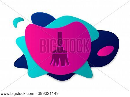 Color Feather Broom For Cleaning Icon Isolated On White Background. Feather Duster. Abstract Banner