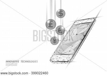 3d Smartphone Online Market Finance Deal. E-commerce Web Trade. Success Web Network Low Poly Banner.