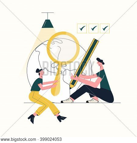 Fact Check Concept True Vs False Myths And Facts Tiny People Flat Vector Illustration Isolated On Wh