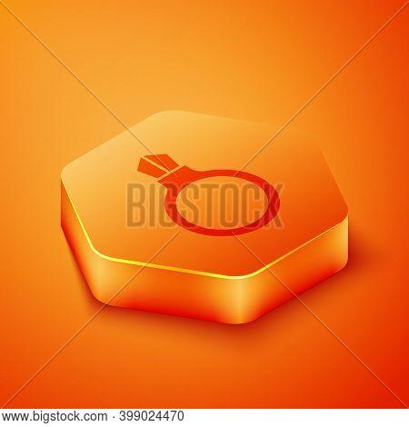 Isometric Fantasy Magic Stone Ring With Gem Icon Isolated On Orange Background. Orange Hexagon Butto