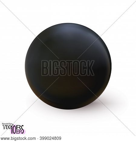 Realistic Black Sphere Matte Or Glossy, Orb 3d Mockup Blank Icon. Abstract Symbol. Template For Desi