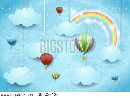 Surreal Cloudscape With Hot Air Balloons And Rainbow, Vector Illustration Eps10