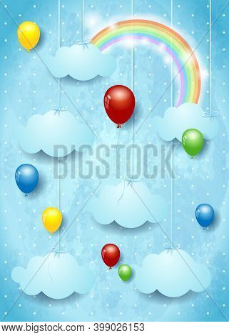 Surreal Cloudscape With Colorful Balloons. Vector Illustration Eps10