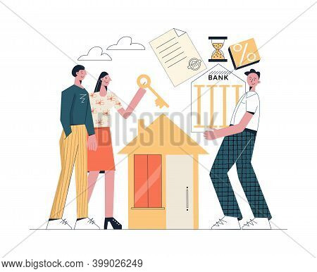 House Mortgage Concept Young Family With Key Buys A House And Consults With A Bank Broker Flat Vecto