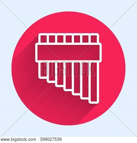 White Line Pan Flute Icon Isolated With Long Shadow. Traditional Peruvian Musical Instrument. Zampon