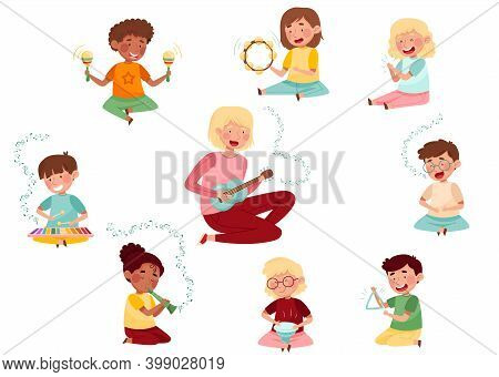 Funny Kid Characters Playing Flute And Keyed Xylophone At Music Lesson Vector Set