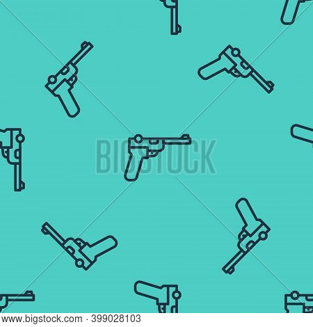 Black Line Mauser Gun Icon Isolated Seamless Pattern On Green Background. Mauser C96 Is A Semi-autom