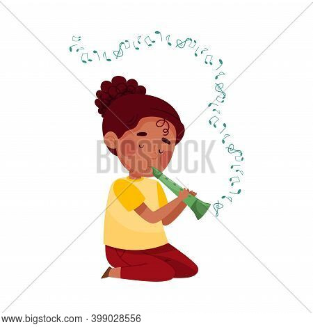 Cute Girl Sitting On The Floor And Playing Flute Vector Illustration