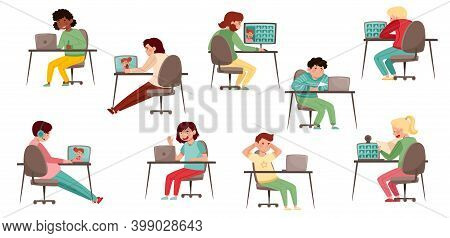 Secondary School Student Sitting At Desk In Front Of Laptop Vector Set