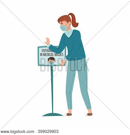 Young Woman In Medical Mask Standing Controlling Observation Of Mask Mandate Vector Illustration