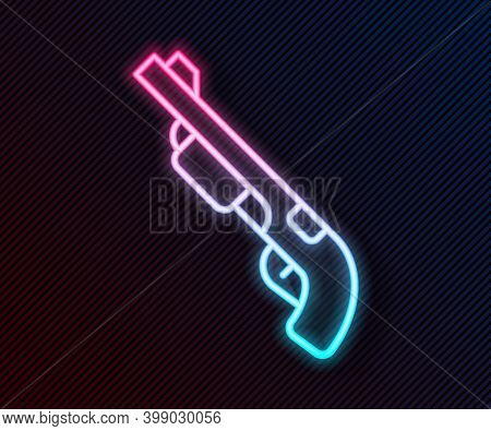 Glowing Neon Line Police Shotgun Icon Isolated On Black Background. Hunting Shotgun. Vector