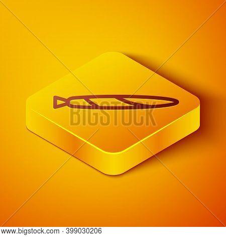 Isometric Line Marijuana Joint, Spliff Icon Isolated On Orange Background. Cigarette With Drug, Mari