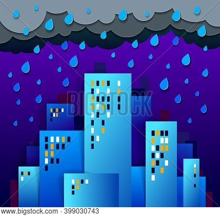 City Houses Buildings Under Rain In The Night Paper Cut Cartoon Kids Game Style Vector Illustration,
