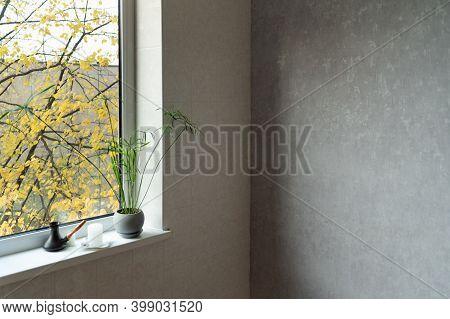 Room Design In Light Colors. Corner Of Room, Window And Flower In Pot.