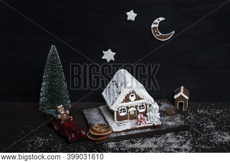 Gingerbread House, Gingerbread Stars, Small Christmas Tree And Toy Car