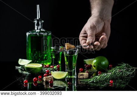 Traditional Set For Drinking Absinthe. Alcohol, Luxurious Spirits And Dangerous Liquor Absinthe. Gre