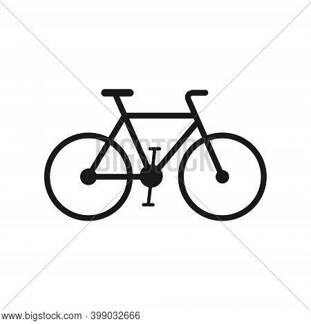 Bicycle Vector Icon. Bike Symbol. Biking Cycle Sing. Traffic And Transportation Logo. Black Silhouet