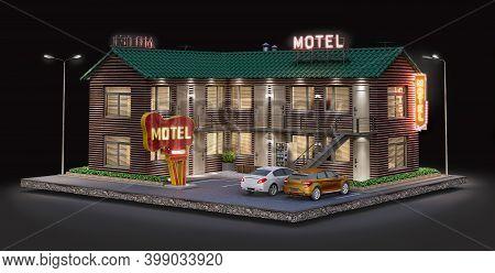 Well-illuminated Roadside Motel Bulding At Night, 3d Illustration