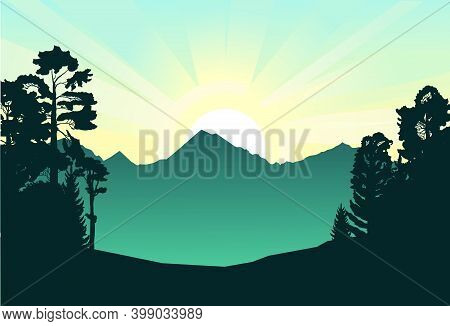 Mountain Landscape. The Haunted Forest. Coniferous And Deciduous Trees. Silhouette. Mountains, Rocks