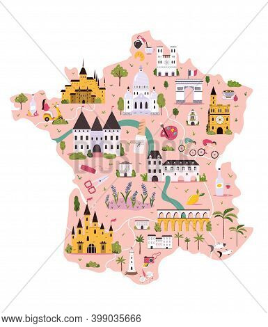 France Hand Drawn Vector Map With Famous Symbols, Landmarks Of The Country.
