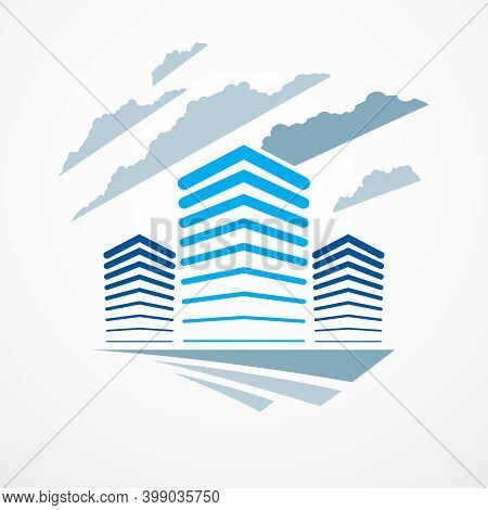 Futuristic Building, Modern Style Vector Architecture Illustration. Real Estate Realty Business Cent