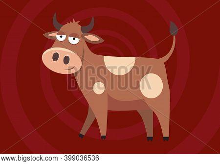 Vector Illustration Of Funny Cartoon Bull. Cartoon Brown Bull Ox Buffalo Wild Animal. Cute Cartoon B