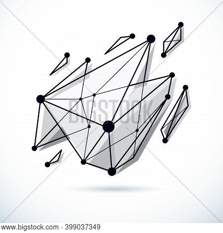 Abstract Geometric 3d Faceted Object, Modern Digital Technology And Science Theme Vector Background.