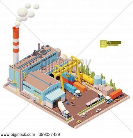 Vector Isometric Factory Building. Factory Or Plant Building Exterior. Industrial Facility. Gantry C
