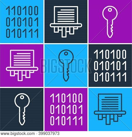 Set Line Binary Code, Key And Paper Shredder Icon. Vector